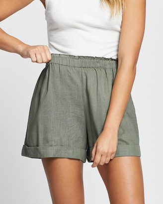 Atmos & Here Atmos&Here - Women's Green High-Waisted - Kinsley Linen Shorts - Size 12 at The Iconic