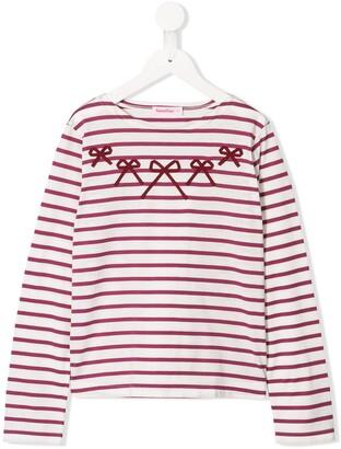 Familiar bow striped T-shirt