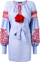 Wandering - embroidered poet sleeve tunic - women - Cotton - 42
