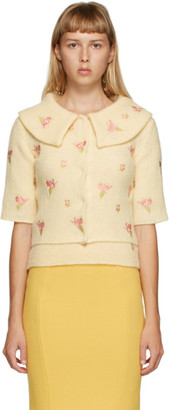 Moschino Yellow Floral Embroidered Cardigan