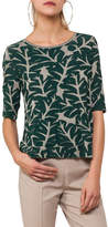 Akris Punto Round-Neck Elbow-Sleeve Tropical-Leaf Jacquard Top
