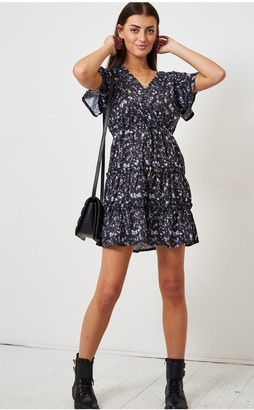 Love Frontrow Black Ditsy Floral Frill Mini Smock Dress