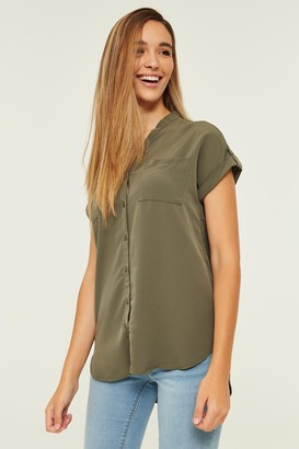 Ardene Cuffed Button-Front Blouse