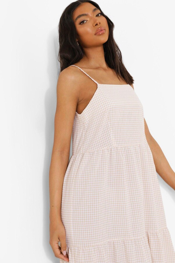 Thumbnail for your product : boohoo Tall Gingham Check Tiered Smock Maxi Dress