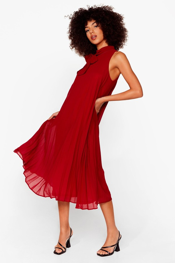 Thumbnail for your product : Nasty Gal Womens Chiffon Bow Pleated Swing Midi Dress