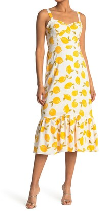 MelloDay Lemon Print Sleeveless Midi Dress