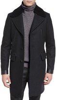 Belstaff Shearling-Collar Melange Overcoat