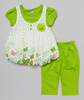 Lime Polka Dot Layered Tunic & Pants - Infant Toddler & Girls