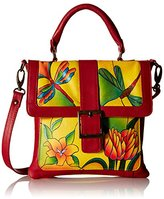 Anuschka Handpainted Leather 8074-DGP-Y Flap Saddle Bag