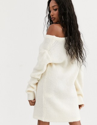 NA-KD oversized jumper dress in off white
