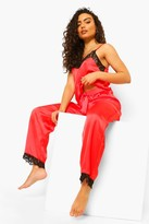 boohoo Mix & Match Eyelash Trim Satin Pj Pants