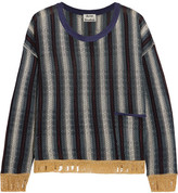 Acne Studios Blanca Distressed Striped Knitted Sweater - Navy