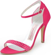 ElegantPark HP1408 Women Satin Ankle Strap Open Toe Pumps Rhinestones High Heel Sandals Prom Party Shoes US 11