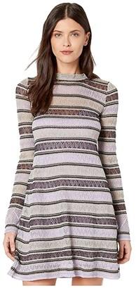 M Missoni Lace Lurex Long Sleeve Dress (Lavender) Women's Clothing