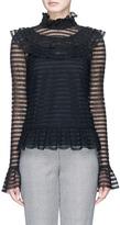 Nicholas 'Adele' cutout back ruffle stripe crochet knit top