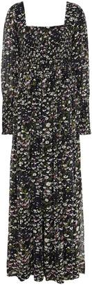 Ganni Shirred Floral-print Georgette Maxi Dress