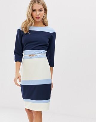 Paper Dolls color block pencil dress with belt-Multi