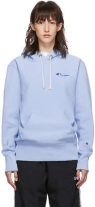 Champion Reverse Weave Blue Small Script Logo Hoodie