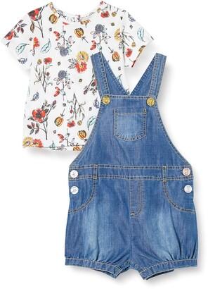 MEK Baby Girls' Salopette Chambray+ T-Shirt Fantasia Clothing Set