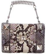Roberto Cavalli Small Studded Snakeskin Handle Bag