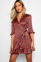 boohoo Petite Satin Leopard Print Ruffle Wrap Tea Dress