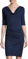 Three Dots Cowl-Neck Side-Ruched Dress, Night Iris