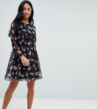 Asos Printed Mesh Skater Dress With Bustier-Multi