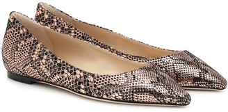 Jimmy Choo Romy snake-effect leather ballet flats