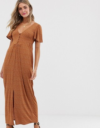 Asos DESIGN jersey crepe maxi tea dress with self covered buttons in brown spot