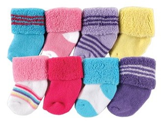 Luvable Friends Baby Girls' Socks, 8-pack