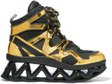 Marc by Marc Jacobs Ninja Wave paneled metallic leather and mesh sneakers
