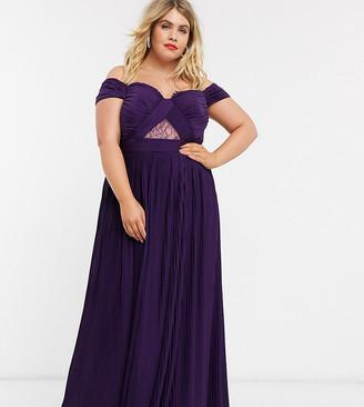 Asos DESIGN Curve lace and pleat bardot maxi dress