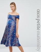 Asos PETITE Twist off Shoulder Skater Midi Dress in Vintage Floral