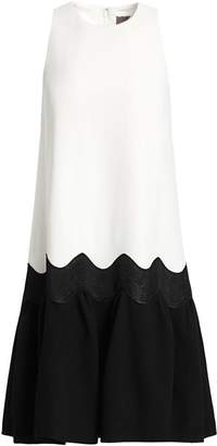 Lela Rose Wool Crepe Wave Flounce Hem Dress