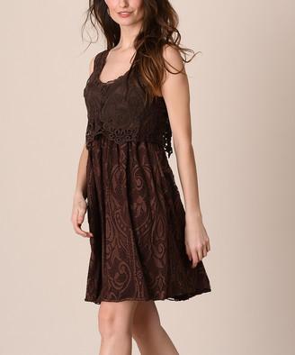 Pretty Angel Women's Casual Dresses COFFEE - Coffee Lace Silk-Blend Popover Dress - Women