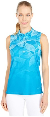 Nike Dri-FITtm Fairway Summer Print Sleeveless Polo (Laser Blue/Laser Blue) Women's Clothing