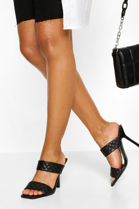 boohoo Quilted Double Strap Square Toe Mules