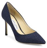 Jimmy Choo Romy 85 Python-Print Denim Pumps