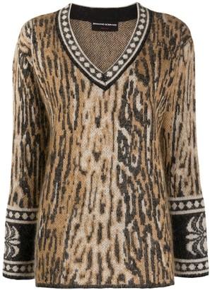 Ermanno Scervino Leopard-Jacquard V-Neck Sweater