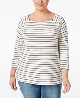 Charter Club Plus Size Embellished Striped Top, Only at Macy's