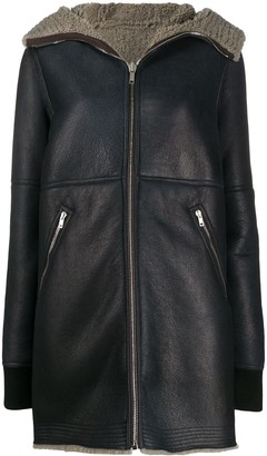 Rick Owens Shearling Lined Leather Coat