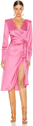 ANDAMANE Carly Wrap Midi Dress in Bubble Pink | FWRD