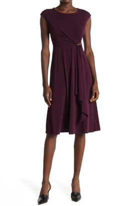 T Tahari Draped Fit & Flare Dress