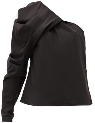 Johanna Ortiz Forgotten Promises One-shoulder Cotton-blend Top - Black
