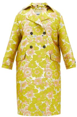 MSGM Double-breasted Floral Brocade Coat - Yellow