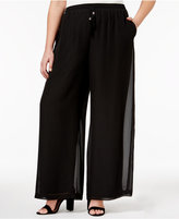 NY Collection Plus Size Sheer-Overlay Palazzo Pants