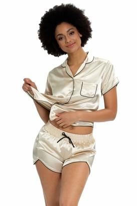 Alcea Rosea Womens Short Sleeve Silky Satin Pajamas Set Button-Down Sleepwear Pajama Shorts Nightwear S-XXL (Tropical Flora L)