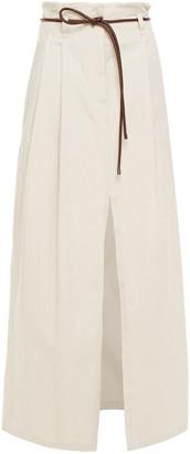 Brunello Cucinelli Belted Stretch-cotton Drill Maxi Skirt