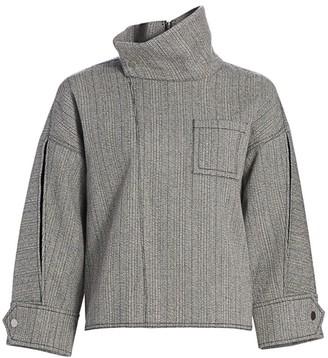 3.1 Phillip Lim Tweed High-Collar Zippered Blouse
