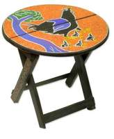 Artisan Crafted Wood Folding Table with Beaded Top, 'Akukor'